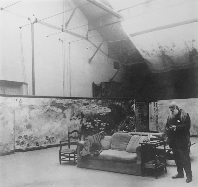 Claude Monet in Studio at Giverny